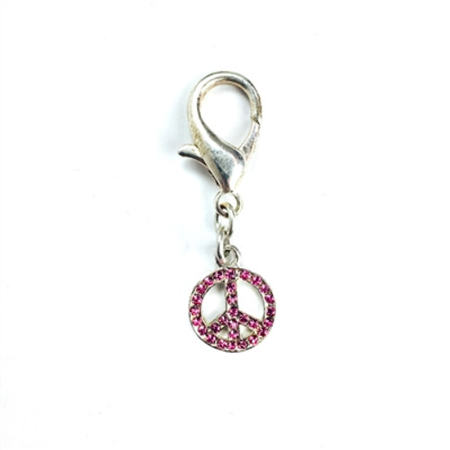 Small Peace Sign Rocked Charm- Pink
