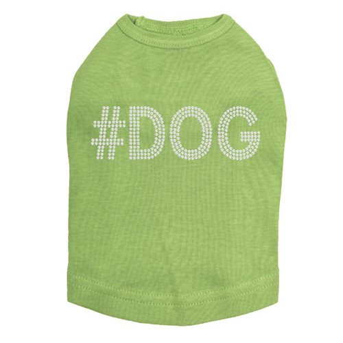 #DOG - Rhinestone - Dog Tank - Lime Green