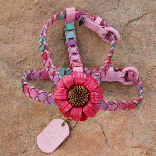 Multicolor Pink Leather Dog Harness with Dark Pink Daisy Attachment