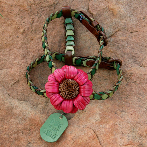 Shades of Green Leather Dog Harness with Dark Pink Daisy Attachment