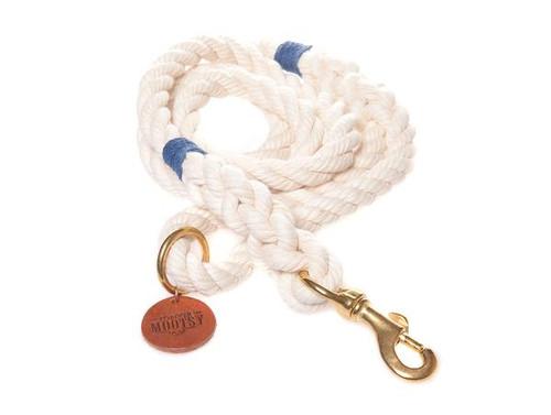 Natural White Dog Leash - Navy Blue Hemp Twine