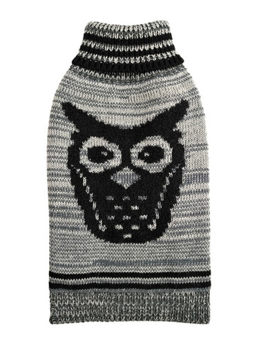 Growl Owl Grey Dog Sweater
