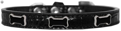 Black Bone Widget Croc Dog Collar