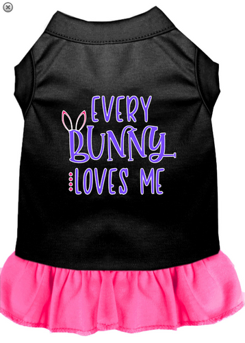 Every Bunny Loves me Screen Print Dog Dress