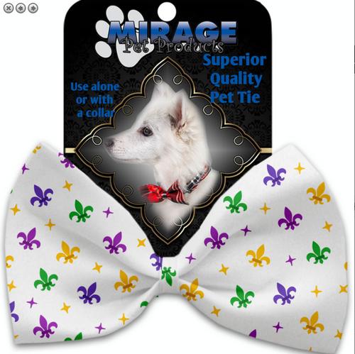 Confetti Fleur de Lis Mardi Gras Pet Bow Tie