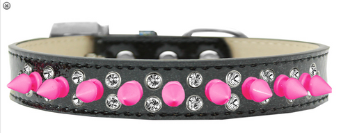 Double Crystal and Bright Pink Spikes Dog Collar Silver Ice Cream