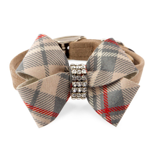 Scotty Nouveau Bow Doe Dog Brown Furberry Plaid Collar puppy collar