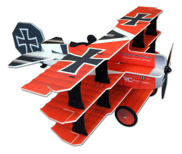"""TH 35"""" EPP Crack Fokker Dr.1 Tri - Red/Yellow"""