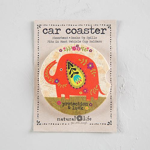 Car Coaster - Orange Elephant