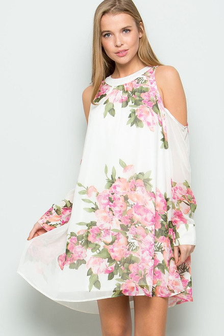 Zoey Open Shoulder Floral Dress - Cream