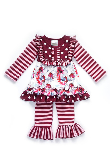 Nova LS Ruffle Pant Set - Red & Pink