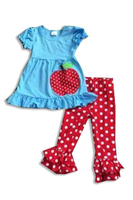 Kayla Apple Ruffle Set - Blue Dot