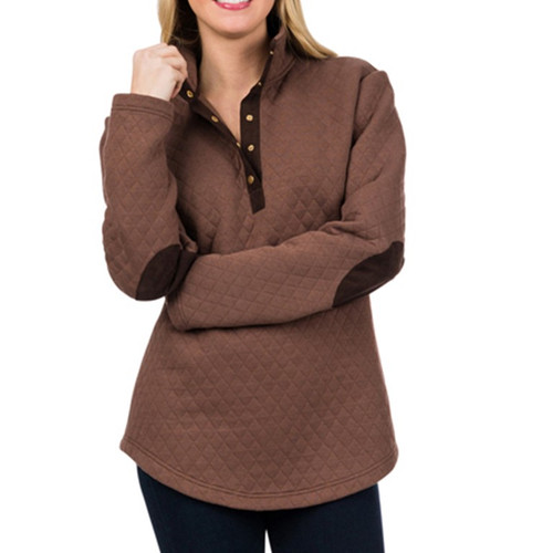 Harley Quilted Pullover - Brown & Chocolate