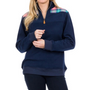 Navy Evie Pullover - Pink Plaid