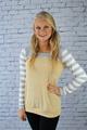 Kamil Striped Knit Tunic Top - Mustard