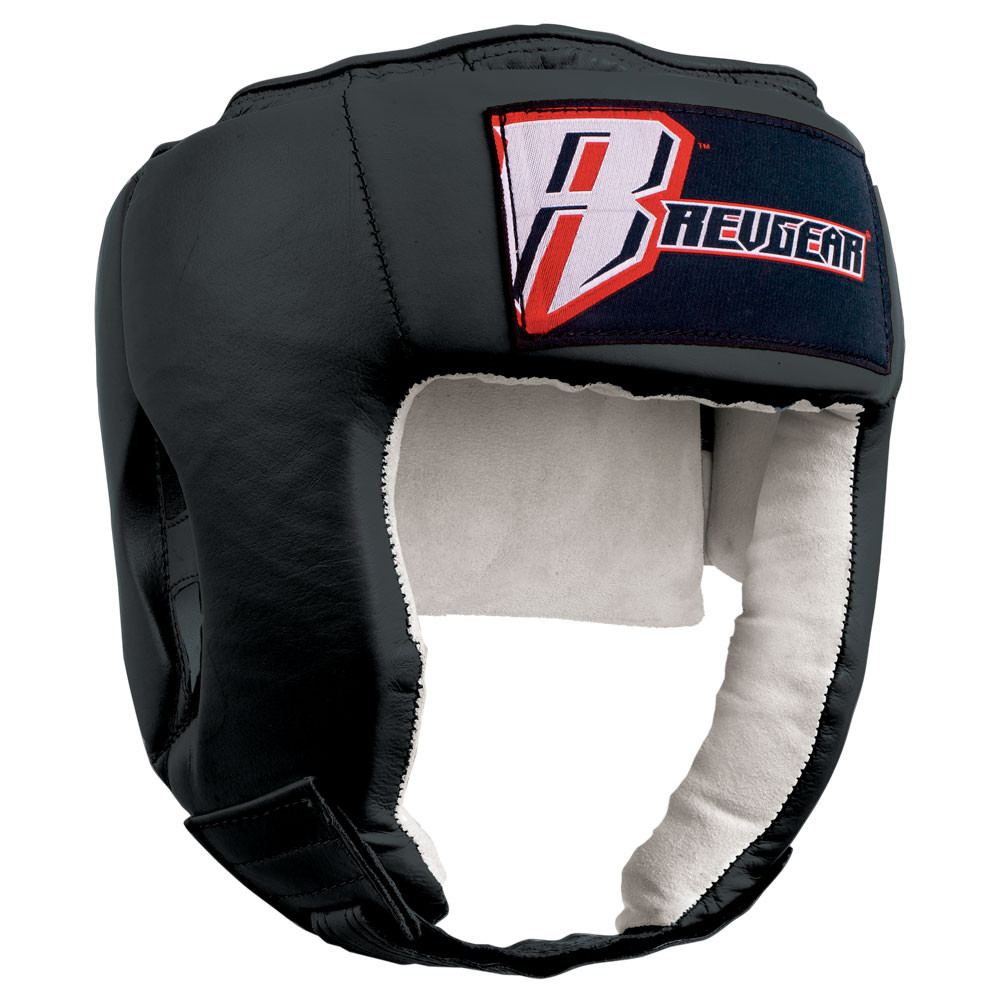 Open Face Leather Headgear - Black