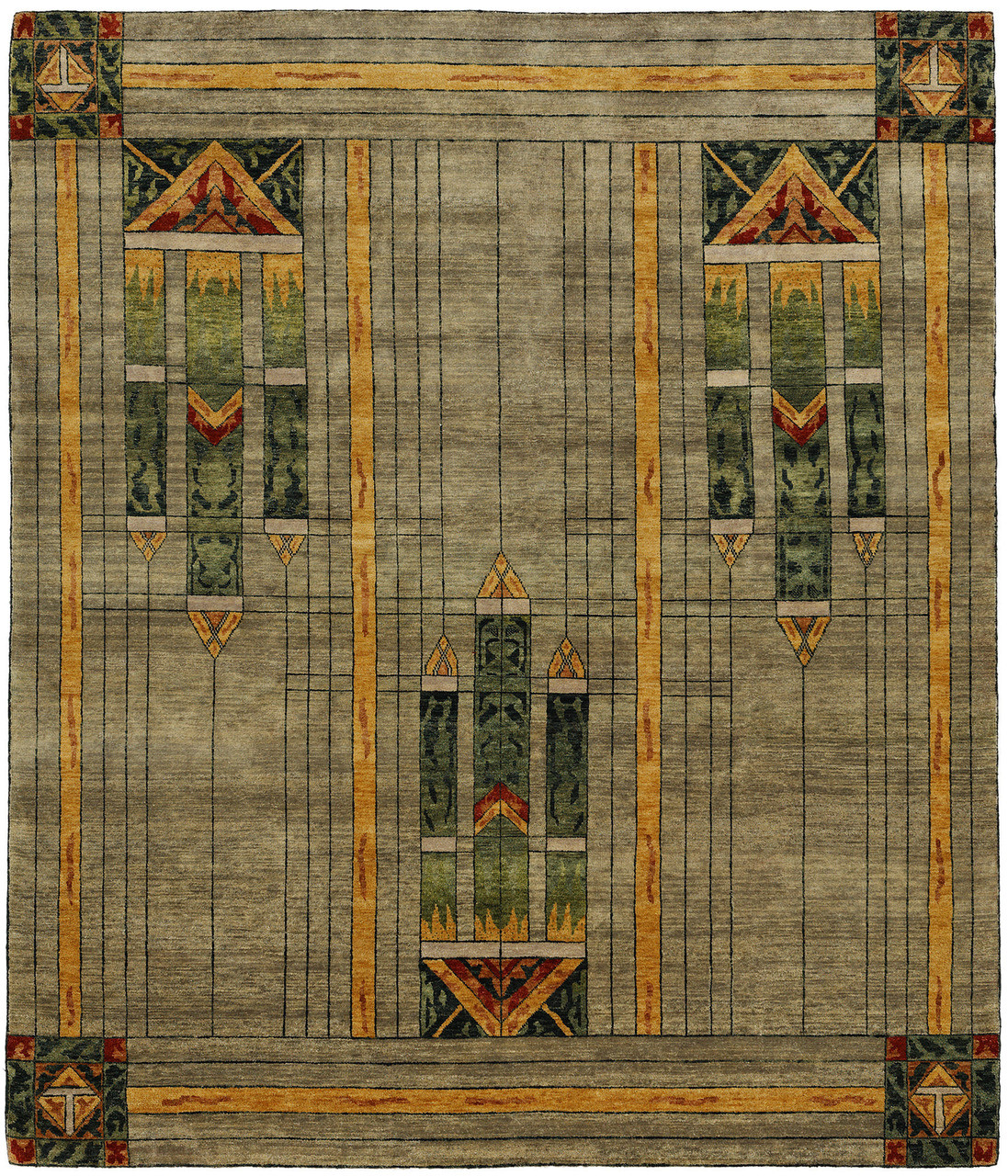Stained Glass Green Rug Pc 50a The Mission Motif
