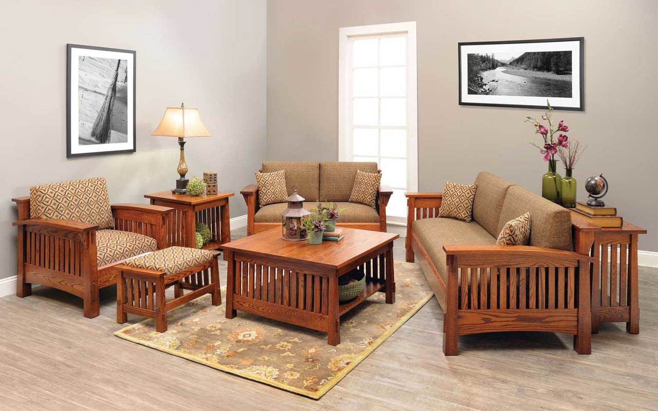 Mission county style living room set - Living room with wooden furniture ...