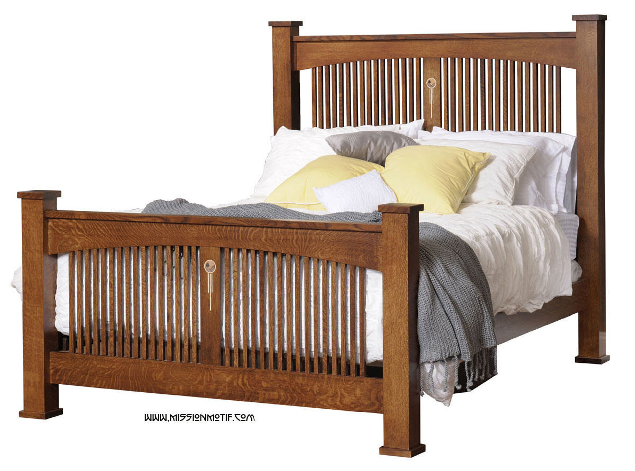 Craftsman spindle bed with inlay crw bd for Craftsman bed
