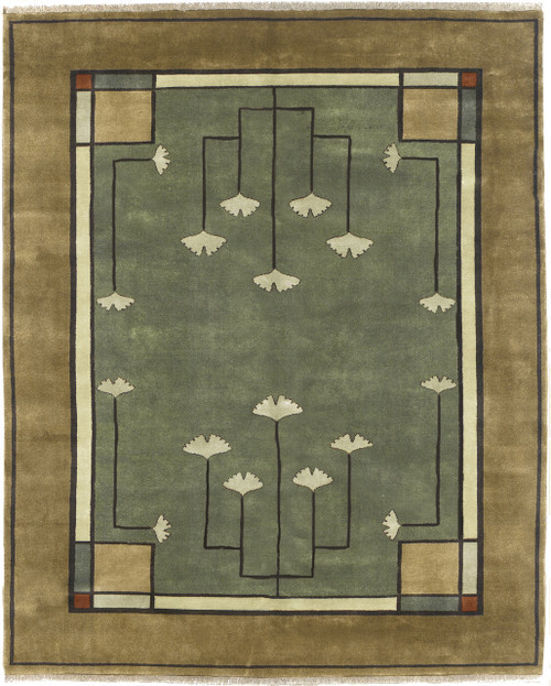The Ginkgo Rug PC-21B is 100% wool and hand Knotted.