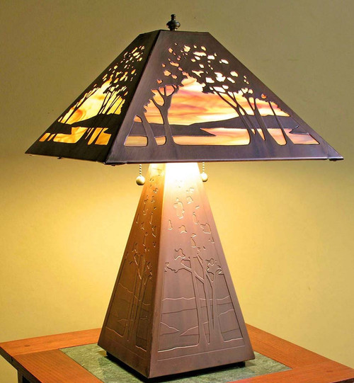 Tree Table Lamp - Bas Relief Shade and Base