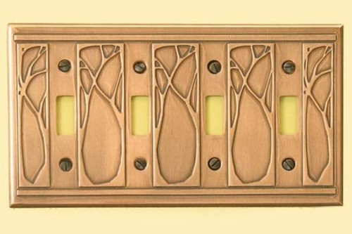 Art Nouveau Quadruple Toggle Copper Switchplate