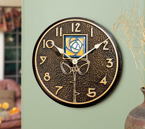 Wall Clock with Dard Hunter Amber Rose Motif