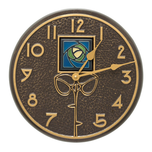 Wall Clock with Dard Hunter Blue Rose Motif