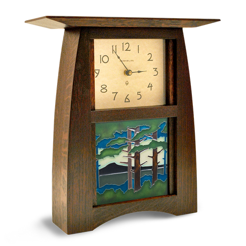 Arts and Crafts Tile Clock with Landscape Art Tile ACT-66