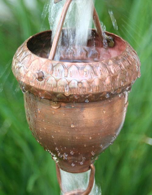 Acorn Cup Copper Rain Chain