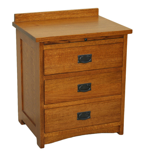 American Mission 3 Drawer Bedside Table w/ Pullout Shelf