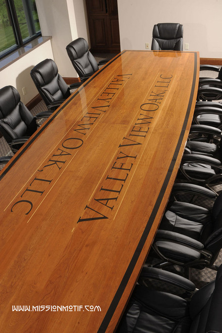 Custom Arlington Conference Room Table with Logo Inlay