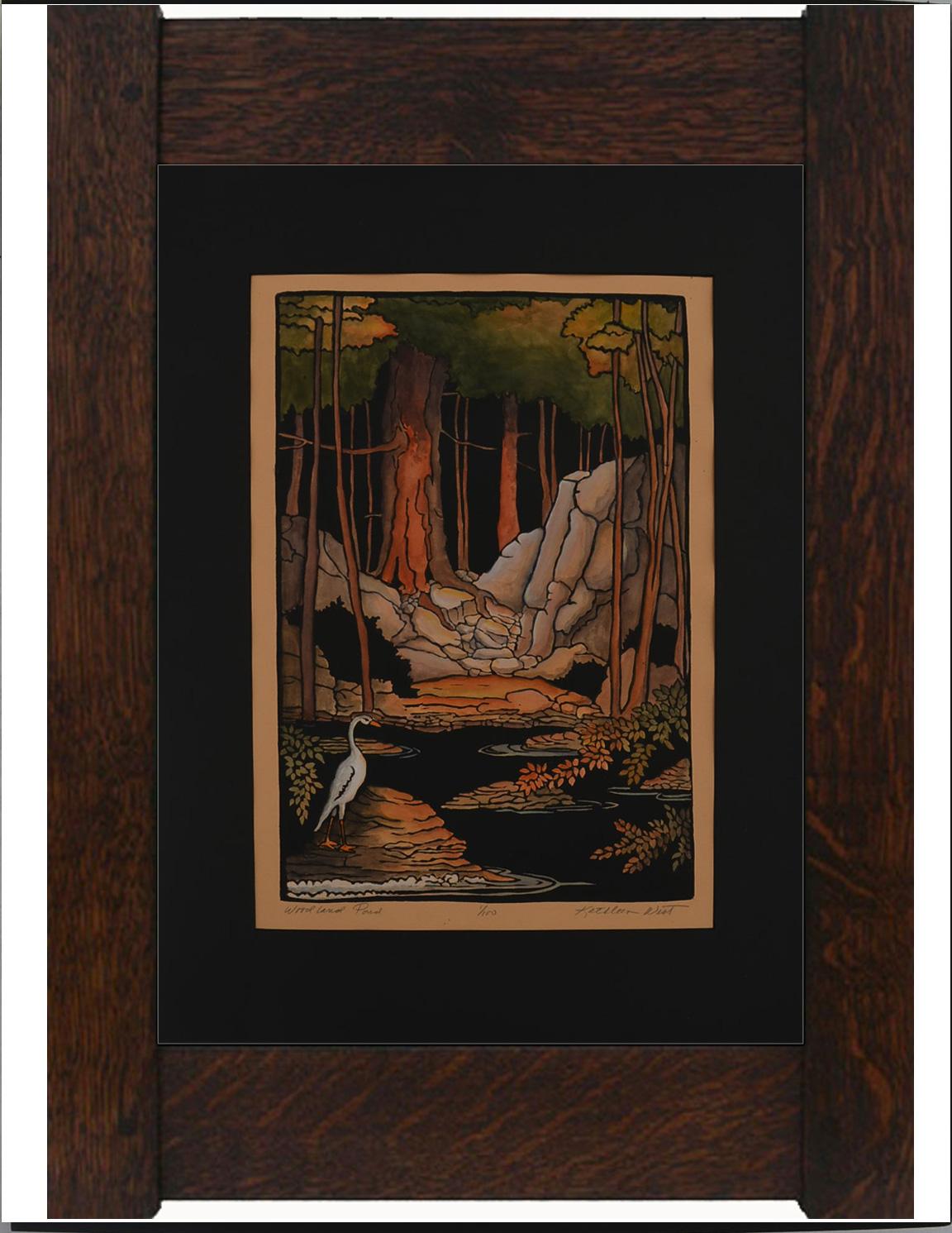 New Block Print:  Woodland Pond by Kathleen West