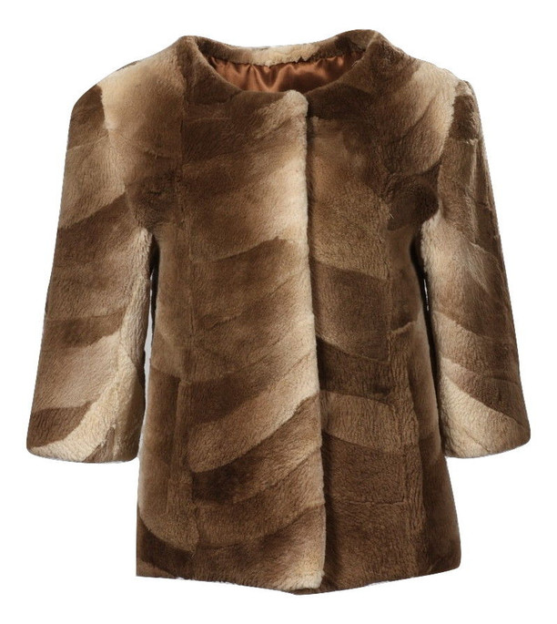 Brown Beaver Fur Jacket Sheared 3/4 Sleeves Collarless  ghost mannequin