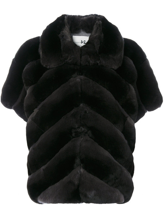 Black  Chinchilla Fur Jacket Short Sleeves