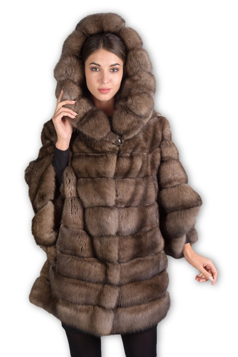 Russian Sable Fur Coat Hooded Domenica front view