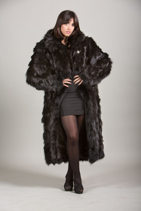 black fox fur coat 4/5 length sectional front view