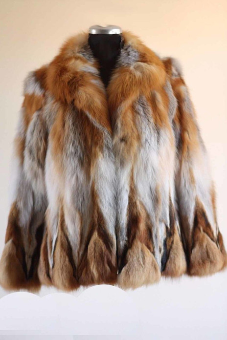 Red Fox Fur Coat Waist Length Scarlet ghost mannequin  front view
