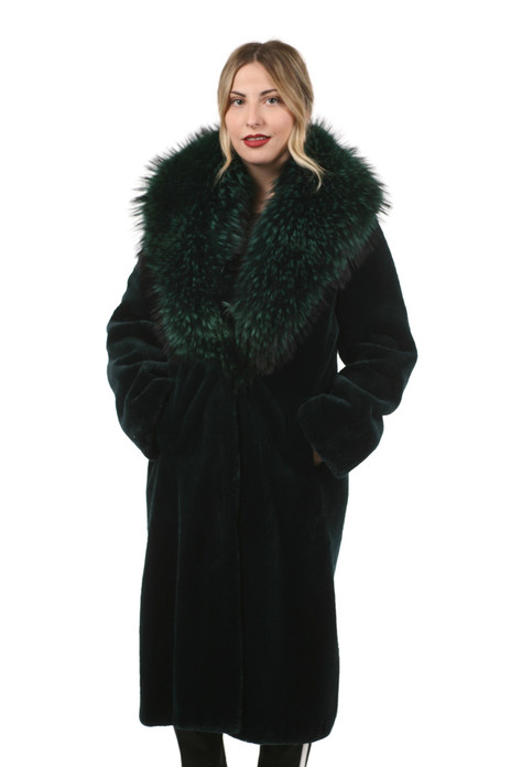 Green Mink  Fur Coat Fin Racoon Collar