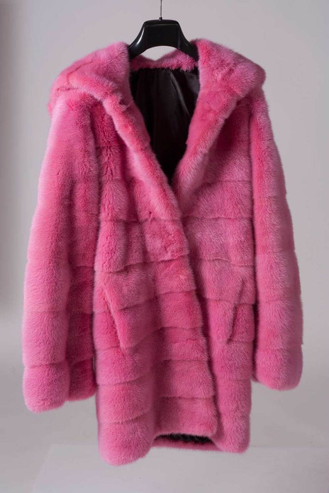 Pink Mink  Fur Coat Hooded