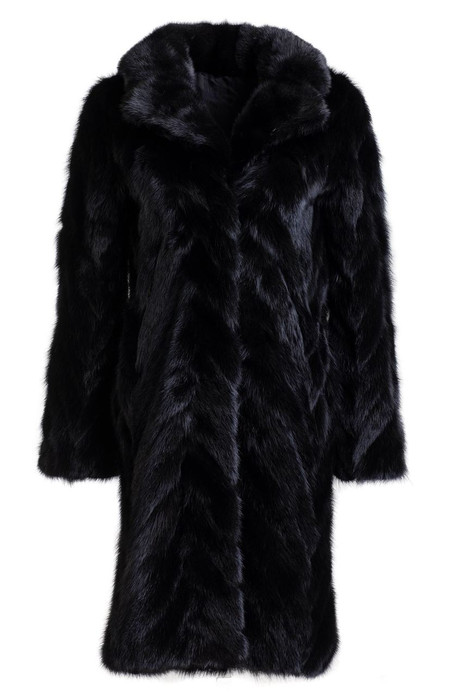 black mink tails fur coat