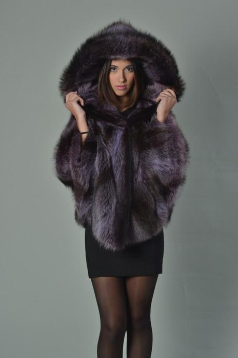 purple raccoon fur cape hooded