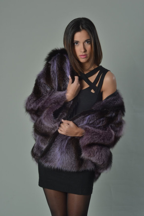 Purple Raccoon Fur Capefur coat