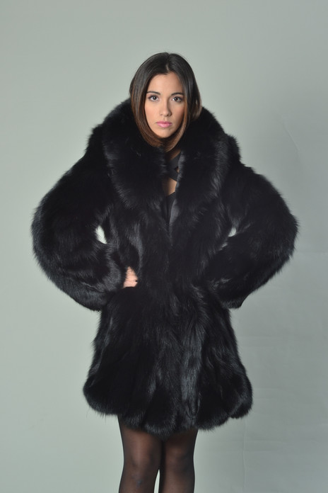Luscious Black Fox Fur Coat Knee Length