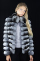 Chinchilla Fur Jacket Stand up Collar