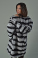 Rex Chinchilla Fur Coat Hooded Mid Hip Length