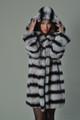 Rex Chinchilla Fur Coat Hooded Mid Hip Length hood on