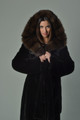 Black Mink Fur Coat  Stone Marten Cobra  Hood