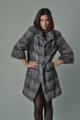 Sapphire Mink Fur Coat Short Sleeved Knee Length