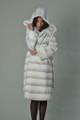 hooded white rex fur coat